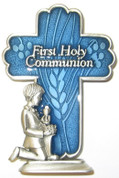First Holy Communion Cross with Kneeling Boy Accent Pewter with  Blue Enamel measures 2 and 1 half inches JC3404E