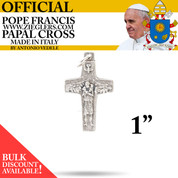 Official Pope Francis 1 inch Papal Cross made of oxidized metal with image of Holy Spirit dove and good shepherd with sheep made in Italy G351