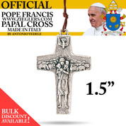 Official Pope Francis Papal Cross 1 and half inch made of oxidized metal with brown cord image of Holy Spirit dove and good shepherd with sheep made in Italy G352L