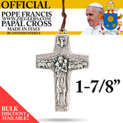 Official Pope Francis Papal Cross 1 and seven eighth inch made of oxidized metal with brown cord image of Holy Spirit dove and good shepherd with sheep made in Italy G353L