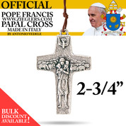 Official Pope Francis Papal Cross two and three fourth inch made of oxidized metal with brown cord image of Holy Spirit dove and good shepherd with sheep made in Italy G354L