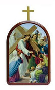 Stations Of The Cross Set of 14 Lithographs On Wood arches measures 4 and 3 quarters by and 6 and 3 quarters inches Made In Italy LAL895