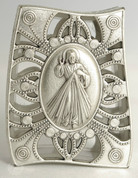 Rosary Case Divine Mercy Oxidized Silver LALSC076OX4