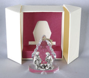 Holy Family Nativity Figurine shows holy family in front of tree made of Glass & Metal measures 2 and 1 half by 2 and 1 half inches LALP126