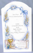 First Communion Greeting Card front Eucharist with wheat and ribbons measures 4 by 6 inches made in Italy RI111063