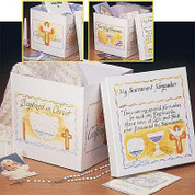 My Sacrament Keepsakes Box designed to Collect Special Items For Sacraments made of Sturdy Paperboard Construction measures 10 by 10 by 9 inches AB32559K