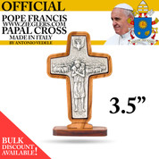 Official Standing Pope Francis Papal Cross Silver Finish with olive wood Frame and Base measures 3 and 1 half inches made in Italy LALG363B
