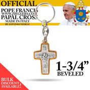 Official Pope Francis Papal Cross Beveled Keychain 1 3 4 inch made of Olive Wood and metal with image of Holy Spirit dove and good shepherd with sheep made in Italy PC181