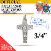 Official Pope Francis Papal Cross 3 4 inch made of Sterling Silver metal with image of Holy Spirit dove and good shepherd with sheep made in Italy RA701
