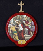 Stations Of The Cross Set of 15 wood Stations with Illustrations On Round Plaques measure 5 and 3 quarters by 5 and 1 half inches from Italy LALVC050