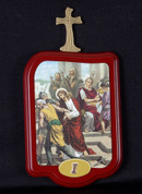 Stations Of The Cross Set of 15 wood Stations with Illustrations On Rectangular Plaques measure 5 and 1 half inches by 3 and 3 quarters inches from Italy LALVC051