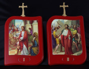 Stations Of The Cross Set of 15 wood Stations with Illustrations On Rectangular Plaques measure 13 by 9 and 1 half inches from Italy LALVC054