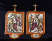 Stations Of The Cross Set of 15 wood Stations with Illustrations On Rectangular Plaques measure 11 by 7 and 1 half inches from Italy LALVC057