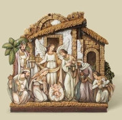 1 Piece Traditional Nativity  with 3 D Effect using Paper on Resin measure 12 by 13 by 1 and 1 half inches RO32010