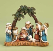 Children's Nativity Pageant under Palm Tree Arch Made of Dolomite measures 6 inches tall RO32388