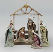 5 Piece Contemporary Nativity Includes Jesus Mary Joseph & 3 Kings Wood Look with Gold Accents made of Resin Includes 12 inch Stable RO32391