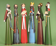 6 Piece Modern Nativity Set Stylized Figures Include Jesus Mary Joseph and 3 Kings made from Metal measure 6 inches by 30 inches LRI407116
