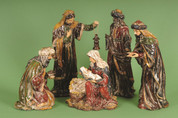5 Piece Traditional Nativity Set Antique Look Includes Jesus in Marys arms Joseph and 3 Kings 17 and 1 quarter inches tall LRI407268