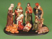 9 Piece Traditional Nativity Set Includes Jesus Mary Joseph 1 Shepherd 3 Kings 1 Donkey & 1 Ox Base is Included 7 inches tall LRI407340