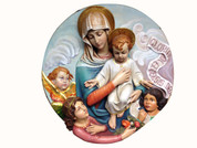 "36"" Our Lady and Child Medallion Plaque -Fiberglass"