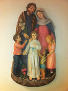 "38"" Holy Family with 3 Children Plaque  - Polyart"