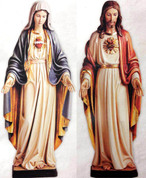 "48"" Sacred Heart and Immaculate Heart Wood Carved Statues(Sold Together)"