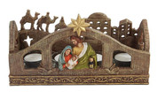 Holy Family Advent Candleholder with Star and Kings measures 10 inches by 3 and three quarter inches by 5 and 1 quarter inches PT9896
