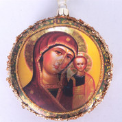 Madonna & Child Ornament Glass Disc Glitter and Braided Sequin Embellishments 4 inch diameter MAR3633888A