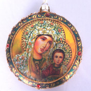 Madonna and Child Christmas Ornament Glass Disc Embellished 4 inch diameter MAR3633888C