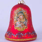 Madonna & Child Christmas Ornament Red Glass Bell Glitter Accents 3 and 1 half inches MAR3643748A