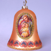 Holy Family Christmas Ornament Gold Glass Bell Glitter & Patterned Embellishments 3 and 1 half inches MAR3643748B