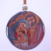 Holy Family Christmas Ornament Image Inside flattened Globe DEM2020140640