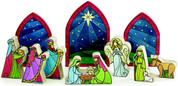 10 Piece Contemporary Nativity Set 1 inch thick wood painted to look like Stained Glass average piece height is 3 inches BUR9722200