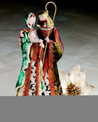 Holy Famly Figurine Tin painted Vivid Greens Reds and Golds 14 and 1 half by 8 by 3 inches BUR9722918