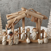 9 Piece Contemporary Nativity Set Faux Knit Includes Jesus Mary Joseph 1 Shepherd 1 Angel 3 Wise Men and 1 Lamb made of Resin Stable Sold Separately Pieces Range From 1 to 4 and 1 half inches tall RAZ3404134