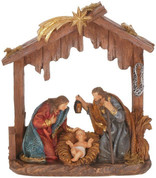 1 Piece Nativity Set Holy Family in Stable with Shooting Star Above  Stands 8 and 1 half inches tall MAR6334116