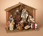 7 Piece Traditional Nativity Set Includes Jesus Mary Joseph 3 Kings and  1 Shepherd includes 21 and 1 half inch Stable GER2158410