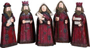 5 Piece Rustic Nativity Set Includes Mary Holding Infant Jesus Joseph and 3 Kings Red Wood-Look 2 and 1 quarter by 5 by 10 and 1 quarter inches TRIX6435