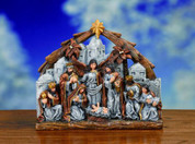 1 Piece Traditional Nativity Depicts Infant Jesus Mary Joseph 1 Shepherd and 3 Kings on Bethlehem Backdrop Stone & Wood Look Resin 2 and 1 half by 11 and 1 quarter by 9 and 1 fifth inches TRIX8232