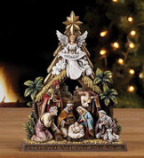1 Piece Nativity Figurine Angel Looks Down Upon Nativity measures 8 inches by 2 inches by 10 and 1 half inches NAP44998