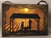 Holy Family Christmas Ornament Printed Canvas Scene With Border over Frame Lighted 5 and 1 half by 3 and 1 half inches Batteries Not Included OWX46593A