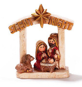 Holy Family Nativity Figurine with Silent Night Printed At Top Of Stable made of Resin measures 3 and 1 quarter inches DICHNAT162
