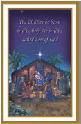 Son of God Holy Card shows nativity with Gold & White Trimmed measures 2 and 3 quarter by 4 and 1 quarter inches comes in box of BCHG3009
