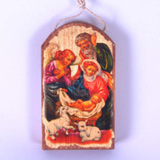 Nativity Christmas Ornament Holy Family & Angel Wood Gold Leaf 2 and 3 quarters by 4 and 3 quarters inches Made in  USA GDB87020