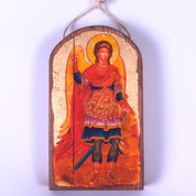 Saint Michael Christmas Ornament Wood Gold Leaf 2 and 3 quarters by 4 and 2 quarters inches Made In USA GDB87022