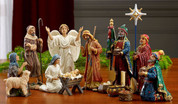 15 Piece Traditional Nativity Set includes Infant Jesus and Manger Mary Joseph 2 Shepherds 1 Angel 3 Kings Star and 3 Chests Chests Hold Authentic Gold Frankincense and Myrrh 9 and 1 half inches TKGRLN035