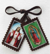 Sacred Heart of Jesus and Our Lady of Guadalupe Scapular with Brown Ribbon made of Fabric MS257SHGU