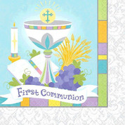 First Communion Napkins With Blessed Sacrament On Blue Background luncheon Size 36 Count AN711213