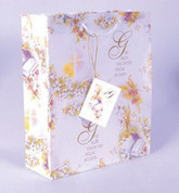 Special Occasion Gift Bag with White Cord Handles and Gift Tag measures 10 and 1 half by 9 inches RI118011