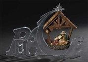 Hanging Nativity Holy Family in Stable Suspended in Word Peace made from Acrylic & Resinstands 7 inches tall RO32177